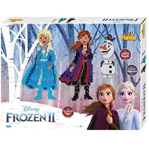 Hama 7921 Geschenkpackung Disney Frozen 2, Bügelperlen Midi, ca. 4000 Stück inklusive Stiftplatten, Strassjuwelen und Zubehör, bunt