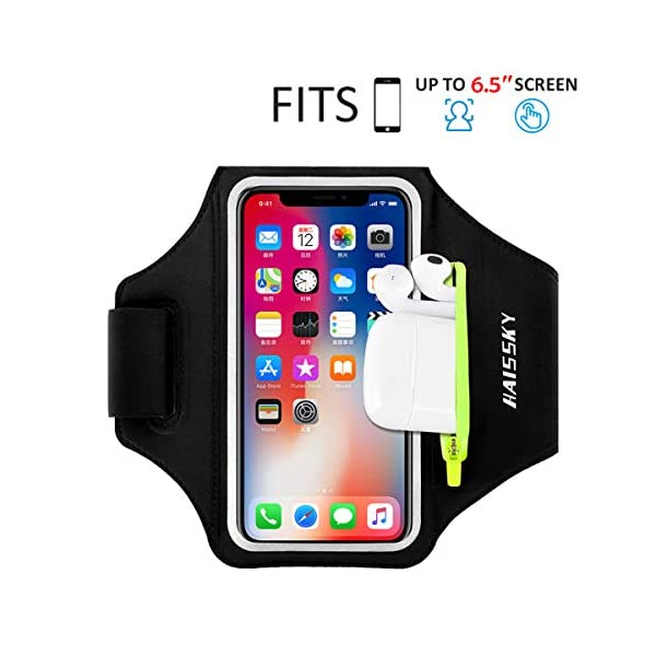 HAISSKY Running Armband with Airpods Bag Cell Phone Armband for iPhone 11/11 Pro/XR/XS/8/7,...