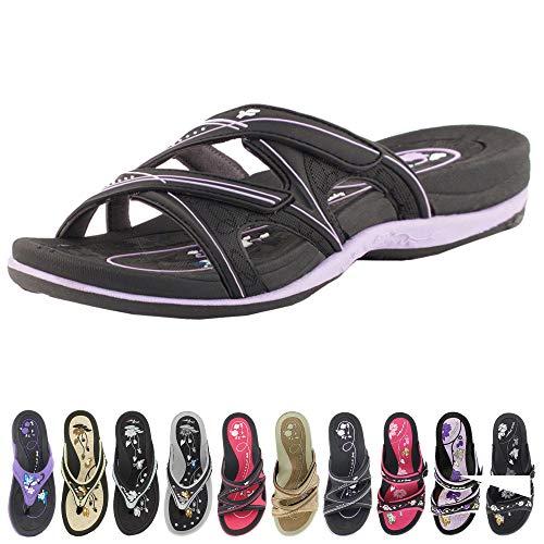 Gold Pigeon Shoes GP Slide Sandals for Women: 7534 Black Purple, EU40 (US Size 9-9.5)
