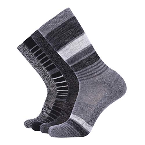 EnerWear 4 Pack Women's Merino Wool Outdoor Hiking Trail Crew Sock