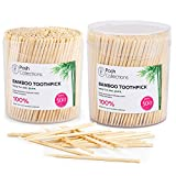 Posh Collection Bamboo Toothpicks Single Sided Wooden Toothpicks 1000-Piece...