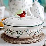 HUAQINEI Cazuela de Sopa Cazuela Redonda de cerámica con Tapa Cazuela de Tapa Vintage Cuenco de Sopa Pintado a Mano Fondo Floral Olla de Barro Antiadherente Pájaro Sartén de Cocina de 2 l