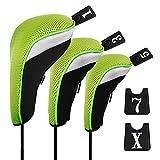 Andux Copri Mazza da Golf per legni Driver Intercambiabile No. Etichetta 3pcs Mt/mg05 Nero/Verde