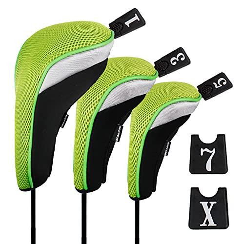 Andux 3 Packung Golf Holz Schlägerkopfhüllen Eisen hauben austauschbar Nr. Etikett MT/mg05 schwarz/grün MEHRWEG