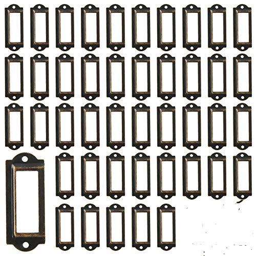 50 Stück Bücherregale Regal Schubladenschrank Etiketten-Kartenrahmenhalter Antik Bronze Eisen -60 x 24mm