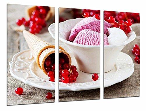 Cuadro Fotográfico Pasteleria, Heladeria, Helado fresa con Fruta y cucurucho Tamaño total: 97 x 62 cm XXL