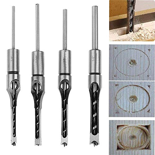 4Pcs Woodworking Square Hole Drill Bit Set, Mortising Chisel Set Mortise Chisel Bit Kits Woodworking Hole Saw Sets - (6 mm/ 8mm/ 10mm/ 12.5mm)