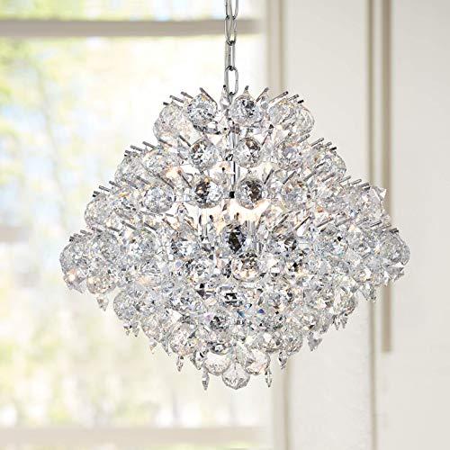 Modern Pendant Chandelier Crystal Raindrop Lighting Ceiling Light Fixture Lamp for Dining Room Bathroom Bedroom Livingroom 4 E12 Bulbs Required D20 in x H16 in