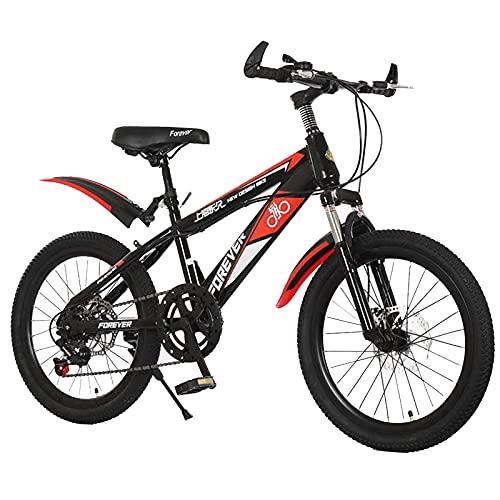 Axdwfd Infantiles Bicicletas Bicicleta de montaña, Engranajes de 21 velocidades, Suspensión de Horquilla, Bicicleta de montaña de 7-14 años de Edad (Color : Red, Size : 18in)