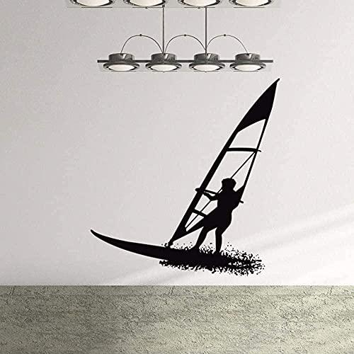57X60Cm Tabla De Surf Vinilo Pared Pegatina Surf Deportes Acuáticos Pared Calcomanía Estilo Playa Decoración Del Hogar Móvil Surf Amante Regalo Papel Tapiz