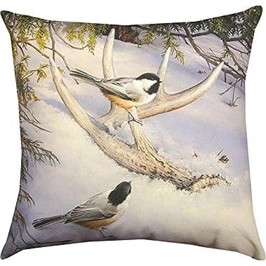 Indoor/Outdoor Climaweave Throw Pillow - Chickadee Birds and Deer Antler 18  Pillow