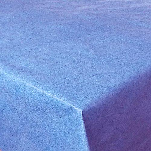 Wachstuch UNI Blau marmoriert · Eckig 130x160 cm · Länge & Farbe wählbar LFGB · abwaschbare Tischdecke Gartentischdecke Einfarbig