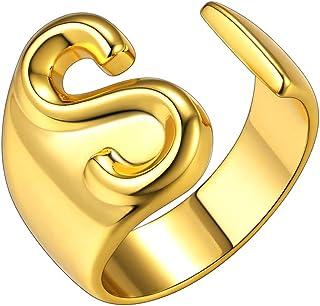 GoldChic Jewelry Anello Aperto Iniziale dalla a alla z di, Anello Aperto Regolabile Lettera Captiale Placcato in Oro 18 Ca...