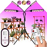 LED Grow Light Indoor Plants - 300W 420LED Plant Light with 63' Extendable Tripod Stand,Dual Controllers,Full Spectrum,4/8/12H Timer,Adjustable Gooseneck,4 Switch Modes for Greenhouse Veg and Flower