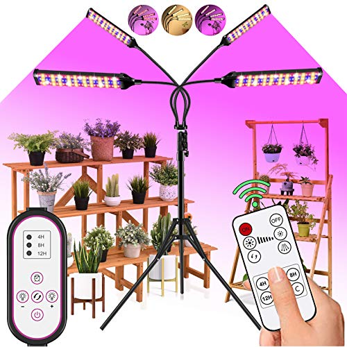 LED Grow Light Indoor Plants - 300W 420LED Plant Light with 75' Extendable Tripod Stand,Dual Controllers,Full Spectrum,4/8/12H Timer,Adjustable Gooseneck,4 Switch Modes for Greenhouse Veg and Flower