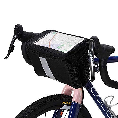 Bike Handlebar Bag Bicycle Front Bag Cycling Saddle Bag Frame Bag Bicycle Storage Bag for Road MTB Outdoor (Color : Black, Size : 24.5x15x17.5cm)