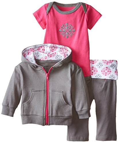 Yoga Sprout Infant 3 Piece Jacket, Top and Pant Set, Pink Medallion, 3-6 Months