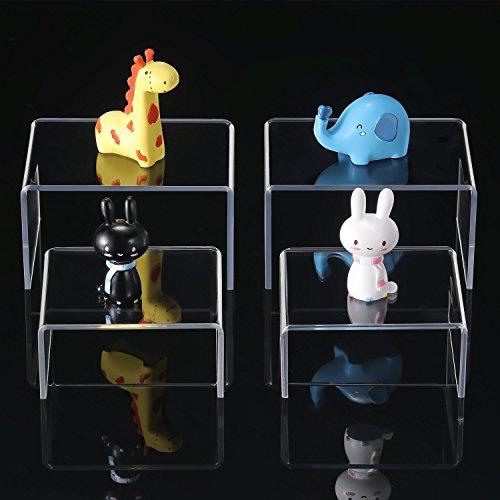 4 Stück Klare Acryl Display Riser, Schmuck Display Riser Schaufenster Leuchten (Größe D) (3.3, 4.1 Inch)