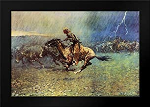 The Stampede 24x17 Framed Art Print by Remington, Frederic