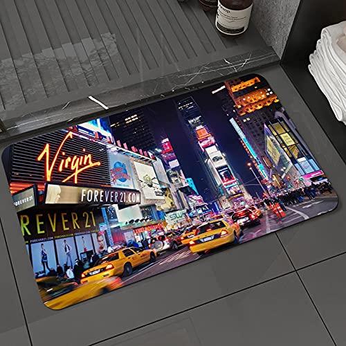 Tapis de Bain et Tapis de Sol New York City Times Square Broadway théâtres et enseignes LED animées New York City United StatesTapis de Sol Absorbant et Doux pour Salle de Bain 50x80 cm