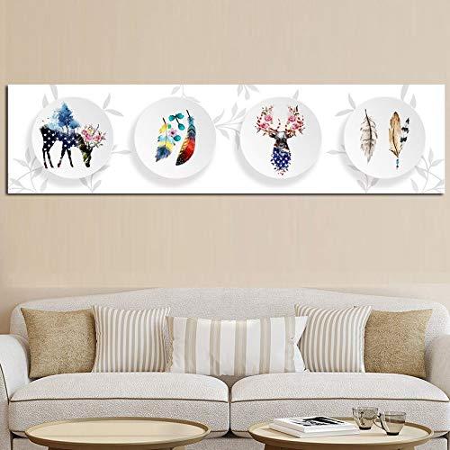 Cuadro de impresión de arte nórdico con bosque de ciervos abstracto en la placa, póster de lienzo escandinavo, cuadros de pared para decoración de sala de estar 50x200 CM (sin marco)