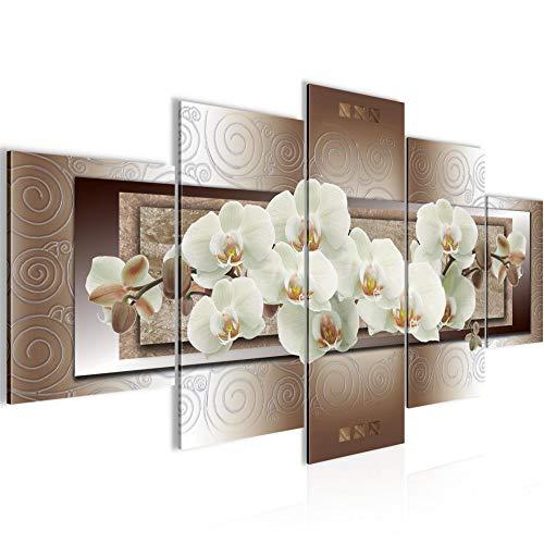 Bilder Blumen Orchidee Wandbild Vlies - Leinwand Bild XXL Format Wandbilder Wohnzimmer Wohnung Deko Kunstdrucke Braun 5 Teilig - MADE IN GERMANY - Fertig zum Aufhängen 205453c