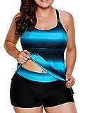 Dearlovers Women's Crisscross Back Color Block Two Piece Tankini Bathing Suits Swimwear XXL Size Blue