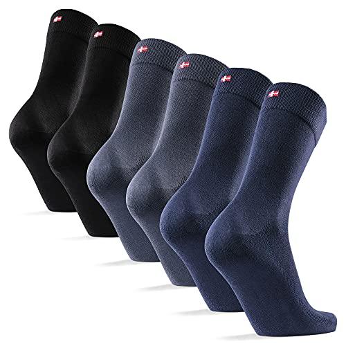 DANISH ENDURANCE Weiche Socken für Herren und Damen, Business und Freizeit, Schwarz, 6 Paare (Mehrfarbig (2x Schwarz, 2x Marineblau, 2x Grau), EU 39-42)