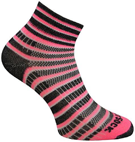Wrightsock Profi Sportsocke, Laufsocke Modell Coolmesh II in neon pink, Anti-Blasen-System, doppellagig, Quarter lang gestreift, Gr. S