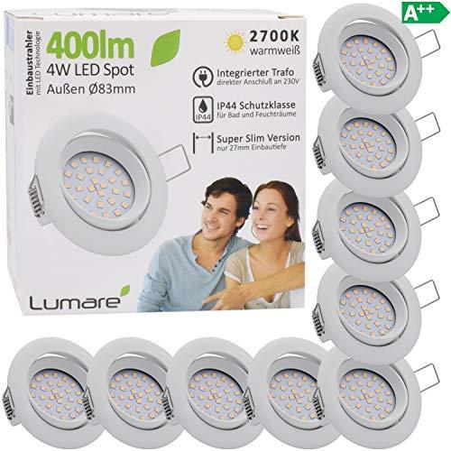 9x Lumare LED Einbaustrahler 4W 400 Lumen IP44 nur 27mm extra flach Einbautiefe LED Leuchtmodul austauschbar Deckenspot AC 230V 120° Deckenlampe Einbauspot warmweiß weiß rund Badezimmer
