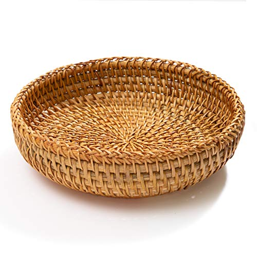 """Small Key Bowl for Entryway Table Wicker Decorative Bowls Keys Holder Basket Handmade Woven Display Wall Baskets Rattan Fruit Candy Wallet Storage Organizing Kitchen Countertop (XS: 7.3"""" Set 1)"""