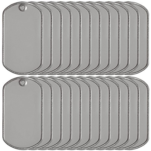 Ball Chain Military Dog Tags Stainless Steel Matte Finish 25 Count