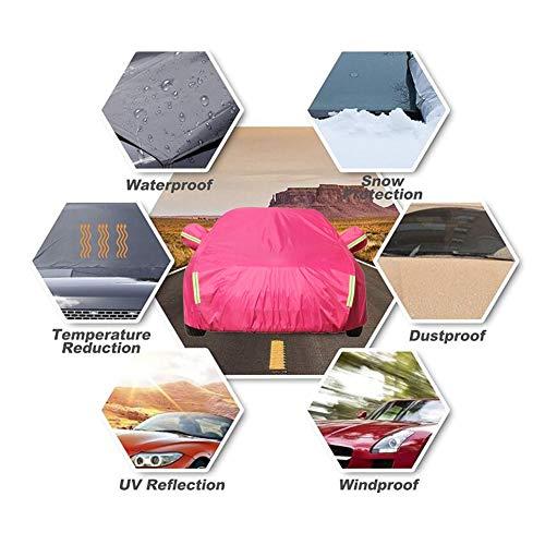 WKZWY Cubierta De Coche Prevenir Arañazos Lona Proteccion Protección contra La Nieve A Prueba De Polvo Tira De Advertencia Cerradura Antirrobo (Color : Pink, Size : 485X190X185CM)