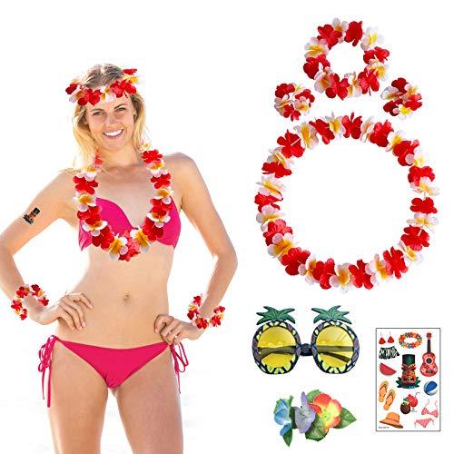 7 piezas de disfraces hawaianos, guirnaldas hawaianas, gafas de sol de piña, lei hawaiano, flor, hibisco, pinzas para el cabello tatuaje pegatinas playa hawai tropical luau fiesta suministros