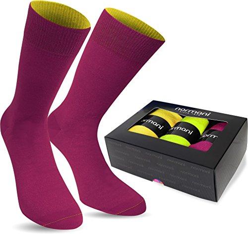 normani 3 Paar Multicolor Socken Bunte Strümpfe für Damen und Herren Farbe Gelb/Limette/Magenta Größe 39/42