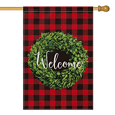 AVOIN Christmas Boxwood Wreath Welcome House Flag Vertical Double Sided, Valentine's Day Winter Buffalo Check Plaid Rustic Farmhouse Flag Yard Outdoor Decoration 28 x 40 Inch