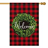 AVOIN Christmas Boxwood Wreath Welcome House Flag Vertical Double Sided, Valentine s Day Winter Buffalo Check Plaid Rustic Farmhouse Flag Yard Outdoor Decoration 28 x 40 Inch