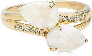 خاتم 9x7 مم من الأحجار الكريمة أصلي كمثري التوأم مع لمسات الماس في الذهب عيار 14 قيراط | خواتم للنساء