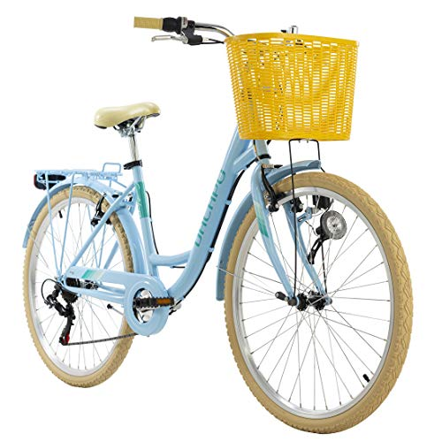 KS Cycling Damenfahrrad 26'' Cantaloupe blau mit Korb Dacapo RH48cm