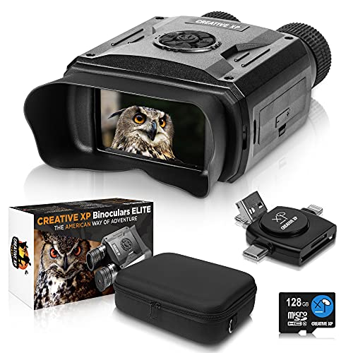 CREATIVE XP Elite Digital Night Vision Binoculars for Adults – Infrared Night Vision Goggles for Hunting, Spy, Military & Tactical - True IR Illuminator for 100% Dark - QHD+ Photos & Videos - 128GB