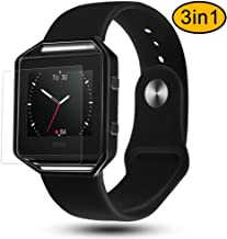 Fitbit Blaze Bands 3 in 1 Watch Wristband Strap Soft Silicone Replacement Protective Case Frame with Screen Protector Smart Fitness Watch Bracelet for Men Women Black