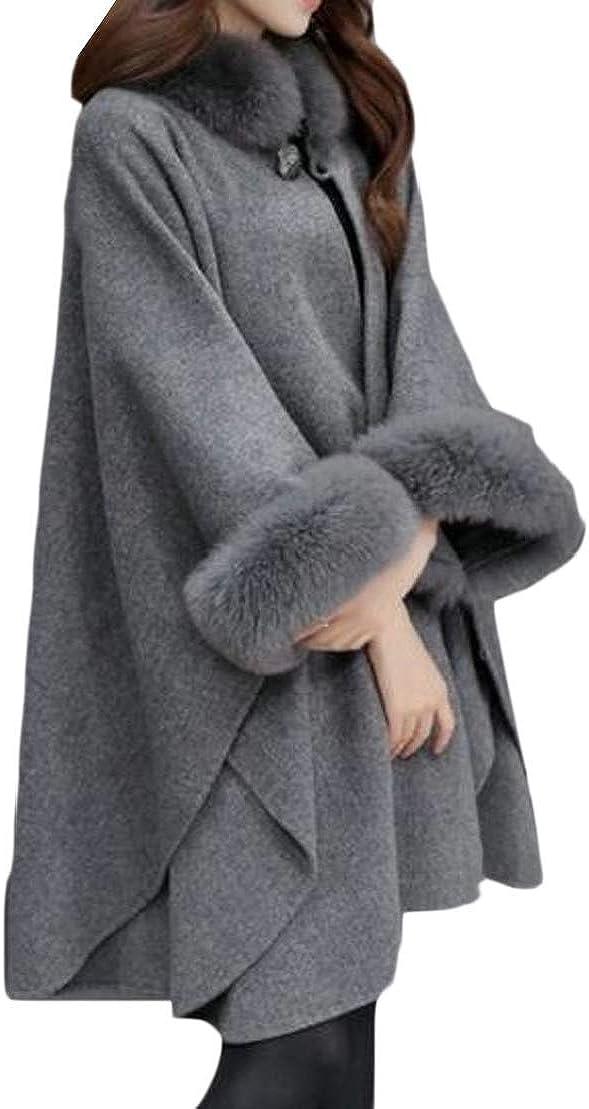 XiaoTianXinWomen XTX Women's Winter Loose Fit Plus Size Cloak Warm Trench Jacket Pea Coat Overcoat Dark Grey 2XL