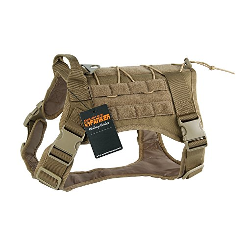 EXCELLENT ELITE SPANKER Tactical Dog Harness Military Dog Harness Working Dog Vest Molle Adjustable Training Vest Patrol K9 Harness Large with Handle(Coyote Brown-M)