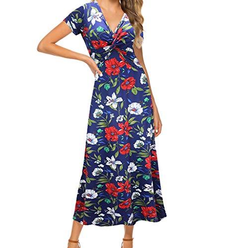 Abiti Estate Boemia Stampa Wrap con Scollo a V Stampa Split Beach Casual Maxi Abiti Moda Casual Floreale Estate Manica Corta Dress Women (XXL,Blu)