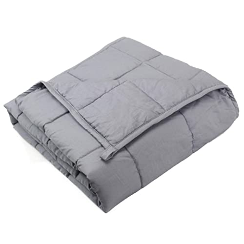 Dreambeauty Weighted Blanket (41''x60'', 10lbs for 80-120lbs Individual, Grey) 丨Premium Cotton with Glass Beads丨Great Sleep for Kids, Girls and Boys丨fit Twin or Full Size Bed