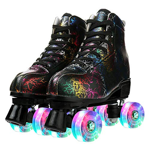 Unisex Roller Skates Shoes, High-top Roller Skate Four-Wheel Double Row PU Leather Outdoor Rolling Skates for Adults Teen (Lightning Black Flash Wheel,41)