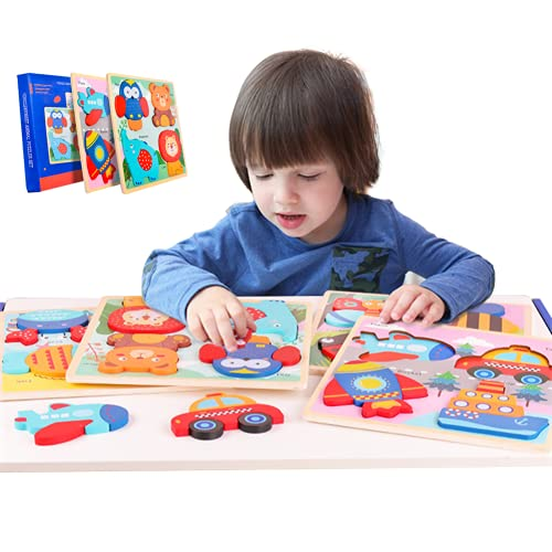 YLTTZH Toddlers Wooden Jigsaw Puzzles Toys,Baby Pegged Puzzles Birthday Gift,Montessori Early Educational Learning Wood Puzzle Toy for Age 2 3 4 5 Year Old Girl Boy,Large 2-in-1(Vehicle+Forest Animal)