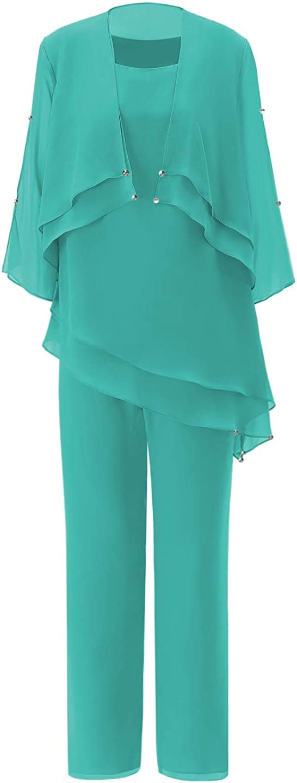 Vincent Bridal Women's Elegant Chiffon 3 Pieces Mother of The Bride Pants Suits Plus Size Outfit for Wedding Groom