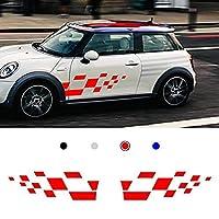 HXKGSMG インポート高品質のKK素材レーシングボディサイドストライプスカートルーフフードデカールステッカー。 ためにMINI Cooper ビニールスポーツバッジカースタイリングアクセサリー1ペア (レッド)