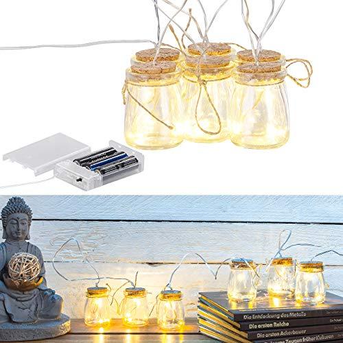 Lunartec Lichterkette: LED-Silberdraht mit 18 LEDs in 6 Deko-Gläsern, batteriebetrieben (Lichterkette mit Timer)
